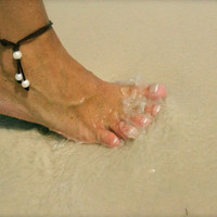 Seasidpearls30a Original: Genuine Freshwater Pearl and Organic Leather Anklet