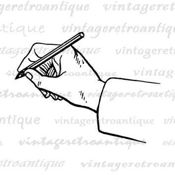 Digital Hand Writing Graphic Download Drawing Pencil Printable Image Vintage Clip Art Jpg Png Eps  HQ 300dpi No.377