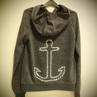 COSMIC RAY clothing — 'ANCHOR' Dark Grey Hooded Sweatshirt