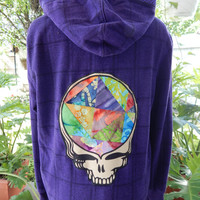 Upcycled Zip Up Hoodie Grateful Dead Steal Your Face  OOAK Womens Size M Large Patchwork Hippie clothes, upcycled hoodie boho chic hoody