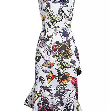 White Sleeveless Floral Print Fishtail Dress