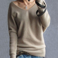 Sexy V Neck Women's Loose Top Long Batwing Sleeve Cashmere Blend Knitted Sweater