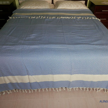 Blue colour diamond patterned Turkish soft cotton blanket, bed cover, throw.