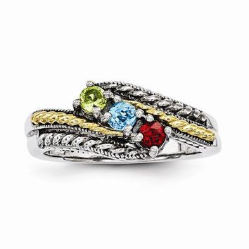 Sterling Silver & 14k Three-Stone Mother's Ring