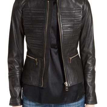 Burberry Hepford Lambskin Leather Jacket | Nordstrom