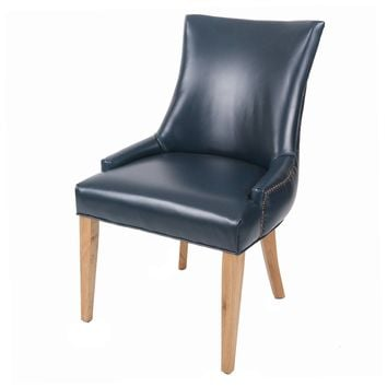Celinda Bonded Leather Tufted Back Chair, Vintage Blue