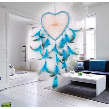 Handmade Blue Heart Dream Catcher Dreamcatcher with Feather Wall Car Hanging Decoration Decor Ornament Gift