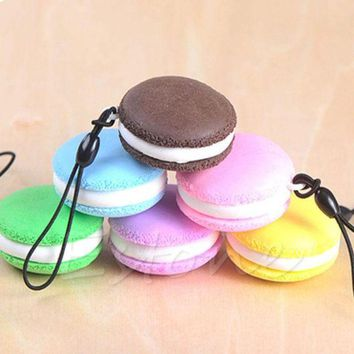ac spbest Kawaii Soft Dessert Squishy Cute Keychain Cell phone Charms Key Straps Pendant t15