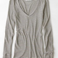 AEO Women's Long Line Ribbed V-neck T-shirt