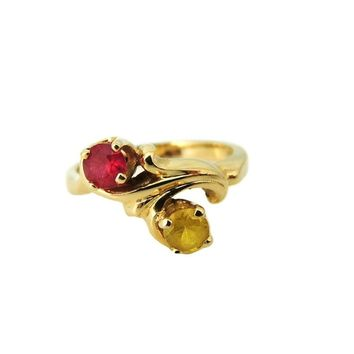 14k Gold Mother's Ring July November Birthstone Ring c1956