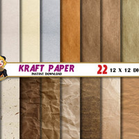 Kraft digital paper, Scrapbooking paper, digital paper texture, backgrounds, patterns, brown colors, craft paper, cardboard, paper grain