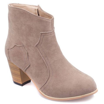 Side Zipper Designed Ankle Boots With Chunky Heel Design