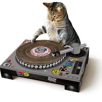 DJ Turntable Cardboard Cat Scratcher! - Spinning DJ turntable for your cat!