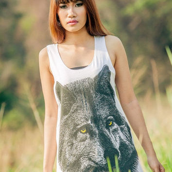 ON SALE Yellow Eye wolf  Tank Top - t-shirt tank top women tee Tunic Unisex Shirt Vest Women Sleeveless Singlet T-Shirt Size M L.