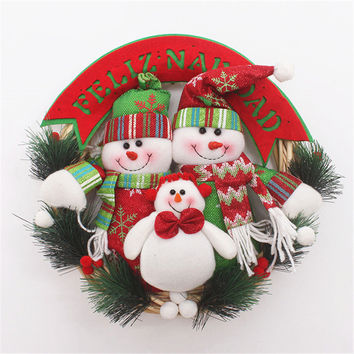 30CM Christmas Party wedding home hotel decoration Wreath Snowman Santa Christmas wreath xmas tree Door decorations supplies