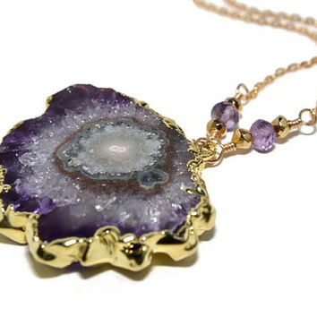 Amethyst Stalactite Necklace, Raw Amethyst Jewelry, 14K Gold Filled Necklace, Handmade, Geode Slice, Boho Necklace