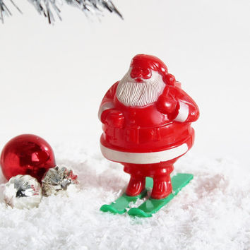 Vintage Plastic Santa on Skis Candy Container / Christmas Collectible Stocking Stuffer Gift / Rosbro Hard Plastic Figurine 1950s 60s Kitsch