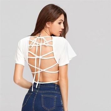 Lace Up Backless Crop Top