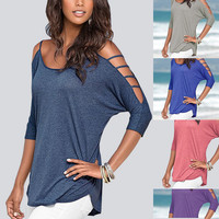 Horizontal Strap Cut Out Sleeve T-Shirt