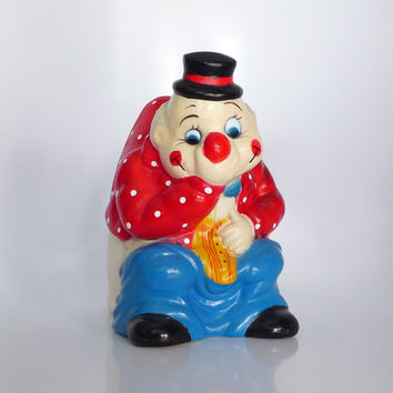 Toilet Brush Holder, Clown on the Potty, Plastic Clown Planter, Funny Bathroom Decor