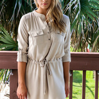 So Charming Button Down Drawstring Dress