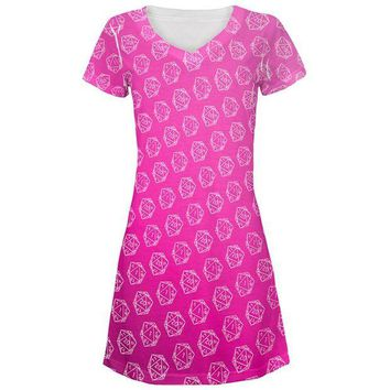 DCCKU3R D20 Gamer Critical Hit and Fumble Pink Pattern All Over Juniors Beach Cover-Up Dress