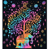 Black Elephant Tree Tapestry Wall Hanging, Hippie Tie Dye Bedding Sheet on RoyalFurnish.com