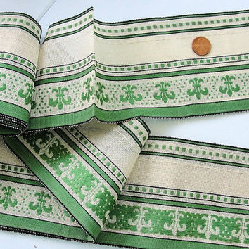 BEAUTIFUL Edwardian VINTAGE French Woven  Wide Ribbon Trim Fleur De Lis Flapper Hats Clothing  Cushions Downton Abbey Decor  De Lys
