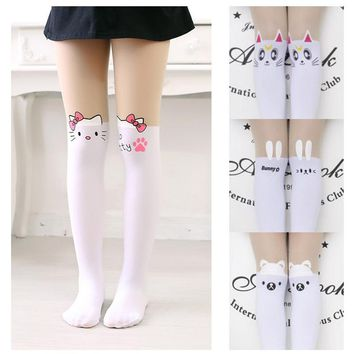 Kids Cute Pantyhose tight for girls Lovely hello Bunny Kitty Velvet Stockings Cartoon Patchwork Kids tight leg girls tights