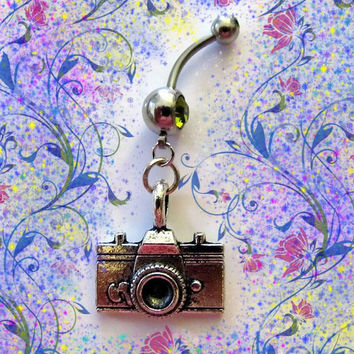 SALE--Belly Ring, Popular Dangling Vintage Antique Style  Camera Belly Button Navel Ring, For Her