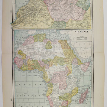 1894 Antique Map of Africa, Oceanica Map, Original Vintage Art Map, African Wall Map, Historical Map, Unique Birthday Gift, Polynesia Map