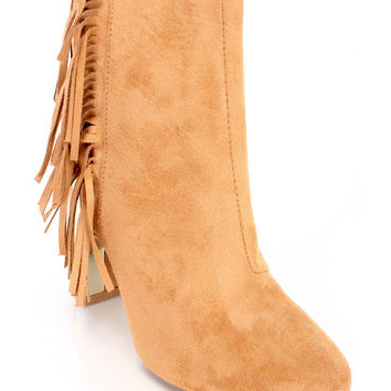 Toffee Fringe Chunky Heel Ankle Booties Faux Suede