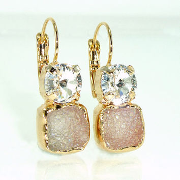 Clear Crystal & Gray Druzy Earrings,  Double Stone Drop Earrings, Gold Earrings, Dangle Gemstones Earrings, Druzy Agate Bezel Sets Earrings.