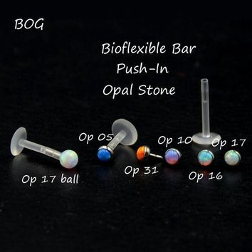 ac PEAPO2Q BOG-1 Piece Bio Flex Push In Flexible Labret & Monroe Lip Tragus Cartilage Piercing Ring Stud with 3mm Opal Stone Nose Stud
