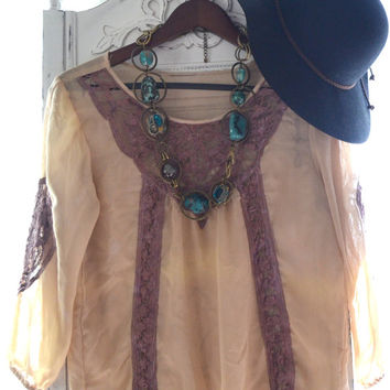 Coachella Festival top, Hippie chic mexicali poets blouse, Romantic Bohemian beach girl shirt, Boho clothes, Coachella , True rebel clothing
