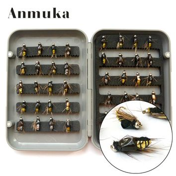 Anmuka 40Pcs/Set Fly Fishing Lure Set Artificial Insect Bait Trout Fly Fishing Hooks Tackle With Plastic Box