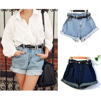 Fashion Shorts Korea Vintage High Waist Denim Jeans Roll-up Hem Cuffs Short Jeans Pants trousers  G0379 = 1929613508