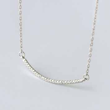 Simple smile set auger 925 sterling silver necklace,a perfect gift