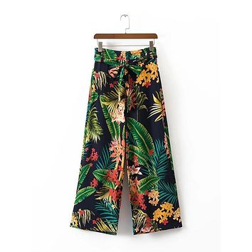 vintage tropical floral leaf wide leg pants bow tie loose retro pattern pockets casual trousers pantalones mujer