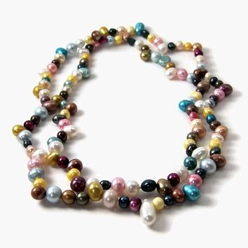 freshwater pearl mix. multicolored. huge strand. 32 inches. potato & rice PEARLS (195P)
