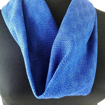 Hand Woven Blue Cowl, Short Loop Scarf