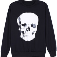 ROMWE White Skull Print Long-sleeved Sweatshirt