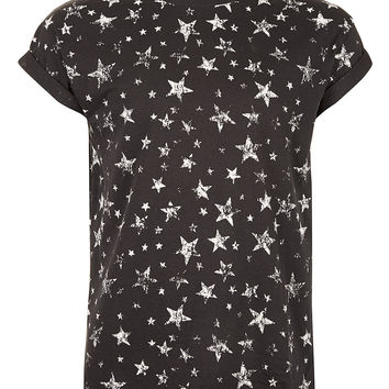 WASHED BLACK STARS T-SHIRT - View All - New In - TOPMAN