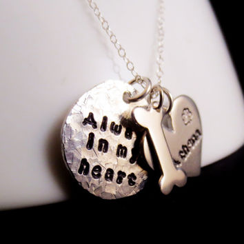 Personalized Dog Remembrance Memorial Necklace, I Love My Dog, Handstamped Phrase Words Names, In Loving Memory, Mothers Day, Christmas