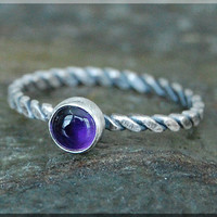 Amethyst Stacking Ring, Simple Stacking Ring, Dainty Sterling Ring, Purple Amethyst Ring, February Birthstone ring, Amethyst jewelry