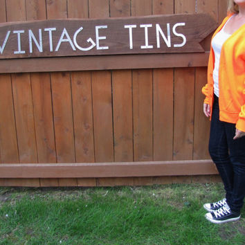 vintage blaze NEON orange Express button down jersey knit cardigan. made in the USA. NWOT.