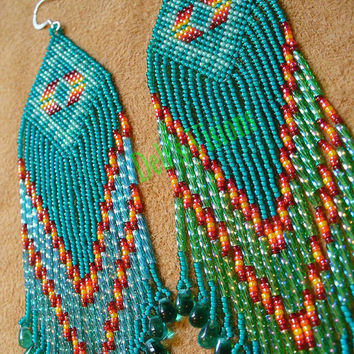 Green brick stitched shoulder duster earrings by DebsVisions