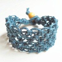Navy Blue Lacy Wide Hemp Bracelet, MADE TO ORDER!