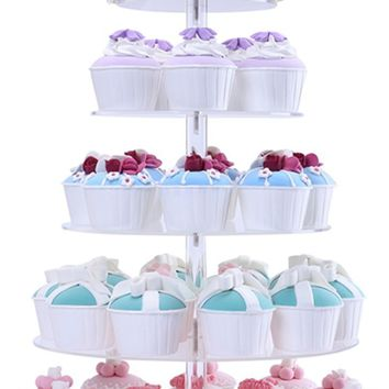 BonNoces 5 Tiers Round Acrylic Pastry Wedding Cupcake Stands Tower Tree-Cupcake Carrier-Clear Tiered Cake Stand Tall Jumbo-Round Dessert Stands-Cupcake Display Stand