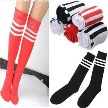 Thigh High Sock Over Knee Legging Socks Stockings Girls Women Stripe Cheerleader White Blue